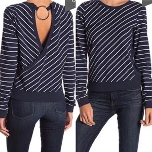 Nordstrom Code X Mode Navy Striped Open Back Top S